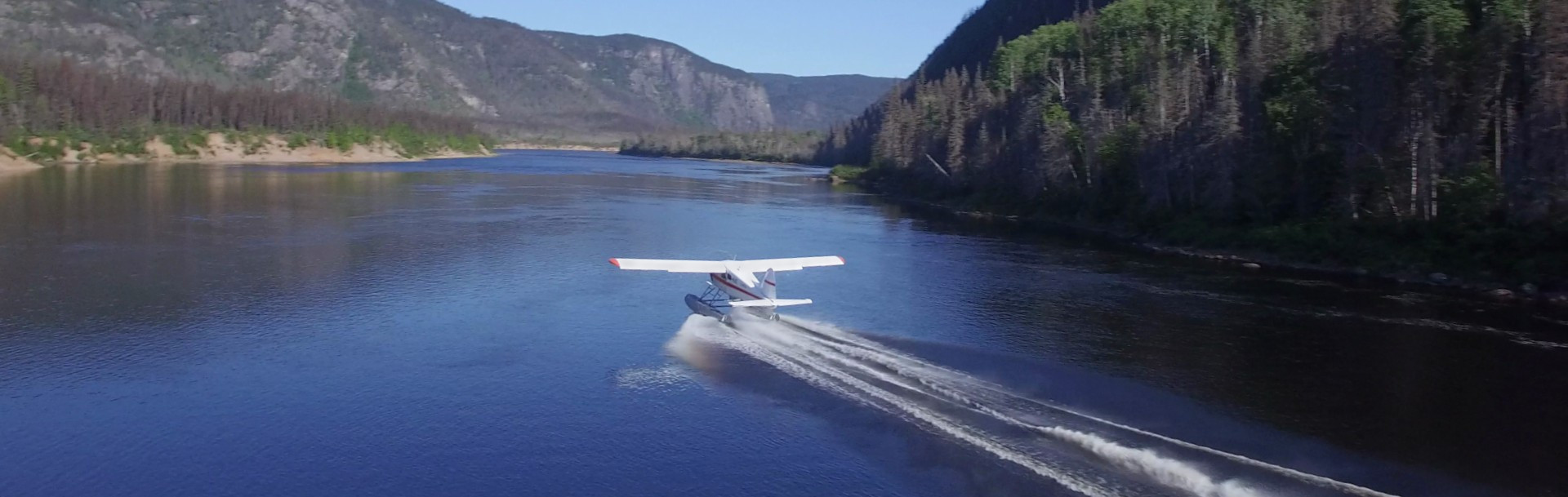 A float plane taking off